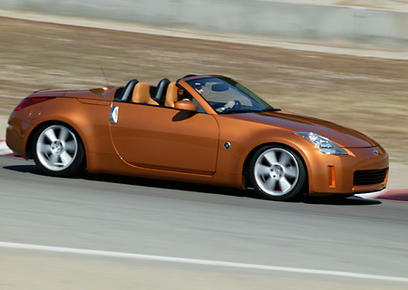 AUT 29 RK0806 01 © Kimball Stock 2004 Nissan 350Z Convertible Orange 3/4 Front View On Racetrack