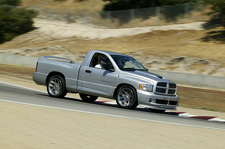 AUT 29 RK0958 01 © Kimball Stock 2004 Dodge SRT-10 Truck Silver 3/4 Front View On Track In Motion