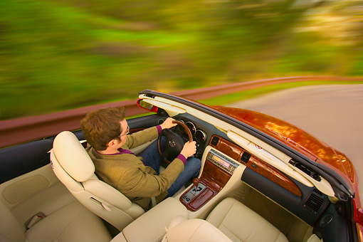 AUT 29 RK1156 01 © Kimball Stock 2006 Lexus SC430 Convertible Burgundy Overhead Interior Shot On Road