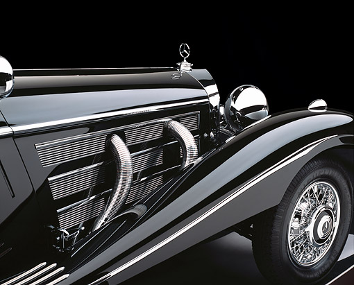 AUT 30 RK1738 01 © Kimball Stock 1937 Mercedes-Benz 540K Special Roadster Detail Side Air Vents