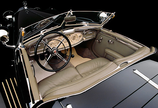 AUT 30 RK1747 02 © Kimball Stock 1937 Mercedes-Benz 540K Special Roadster Black Detail Interior Shot
