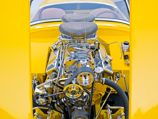 AUT 30 BK0007 01 © Kimball Stock 1958 Austin-Healey Sprite (AKA Bugeye) Convertible Hot Rod Yellow Engine Detail
