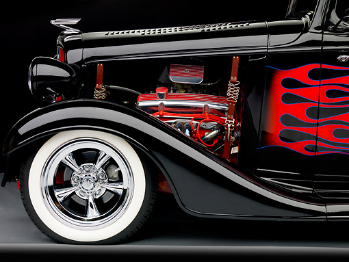 AUT 30 BK0011 01 © Kimball Stock 1933 Chevrolet Mercury CC Coupe Hot Rod Black With Red Flames Front Detail Studio