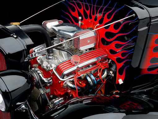AUT 30 BK0012 01 © Kimball Stock 1933 Chevrolet Mercury CC Coupe Hot Rod Black With Red Flames Engine Detail Studio