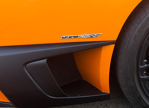 AUT 30 BK0021 01 © Kimball Stock 2010 Lamborghini Murci�lago LP670-4 SV Orange Side Detail