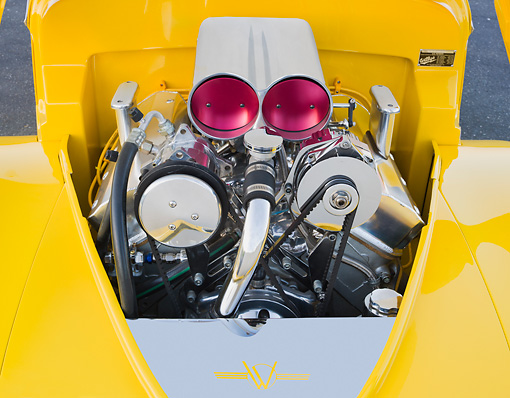 AUT 30 BK0066 01 © Kimball Stock 1941 Willys Coupe Yellow Engine Detail