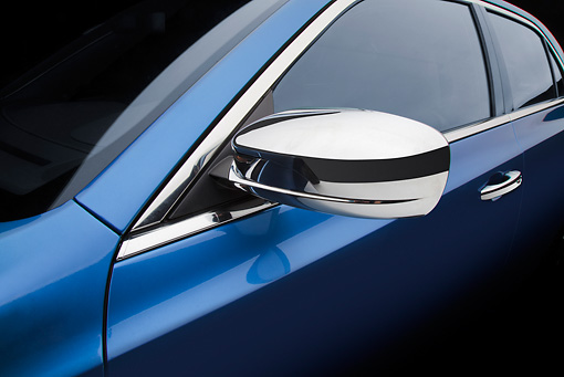 AUT 30 BK0120 01 © Kimball Stock 2012 Chrysler 300C Blue Side Mirror Detail In Studio