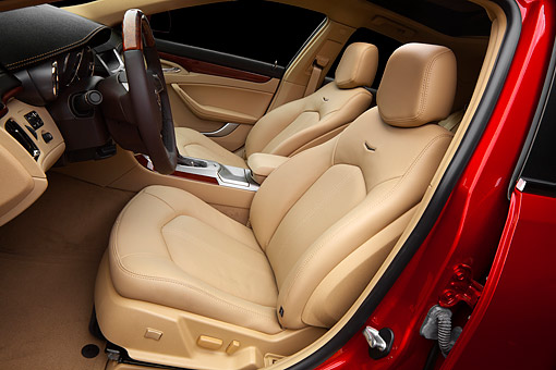 AUT 30 BK0142 01 © Kimball Stock 2012 Cadillac CTS Red Interior Detail In Studio