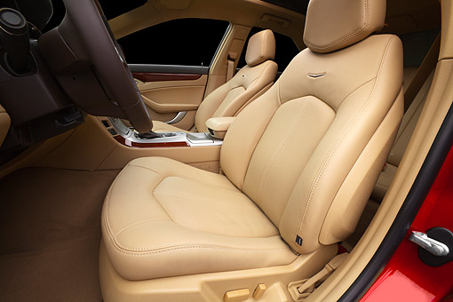 AUT 30 BK0144 01 © Kimball Stock 2012 Cadillac CTS Red Interior Detail In Studio