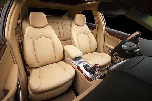 AUT 30 BK0145 01 © Kimball Stock 2012 Cadillac CTS Red Interior Detail In Studio