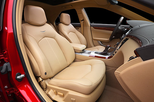 AUT 30 BK0146 01 © Kimball Stock 2012 Cadillac CTS Red Interior Detail In Studio