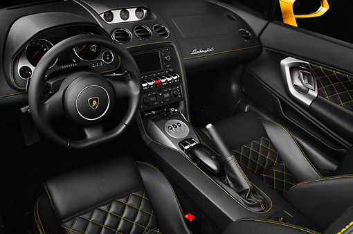 AUT 30 BK0183 01 © Kimball Stock 2012 Lamborghini Gallardo LP 550-2 Spyder Yellow Interior Detail In Studio