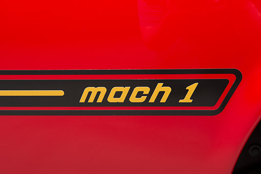 AUT 30 BK0198 01 © Kimball Stock 1969 Ford Mustang Mach 1 Super Cobra Jet Red And Black Logo Detail