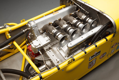 AUT 30 BK0215 01 © Kimball Stock 1958 Quinn Epperly Demler Special Yellow Engine Detail In Studio