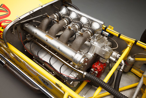 AUT 30 BK0216 01 © Kimball Stock 1958 Quinn Epperly Demler Special Yellow Engine Detail In Studio