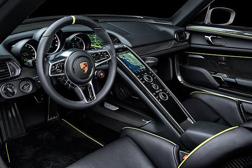AUT 30 BK0267 01 C Kimball Stock 2015 Porsche 918 Spyder Hybrid Interior Detail