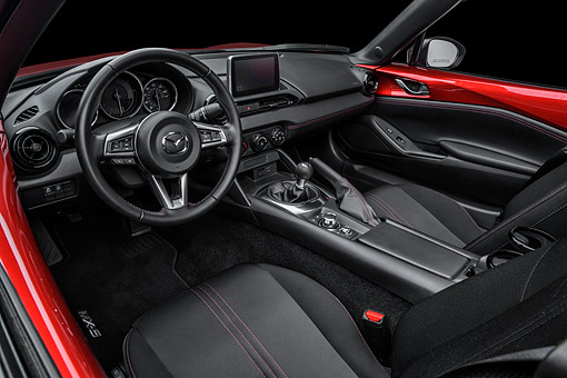 AUT 30 BK0283 01 © Kimball Stock 2016 Mazda MX-5 Miata Red Interior Detail In Studio