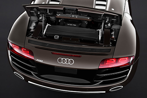 AUT 30 IZ0213 01 © Kimball Stock 2011 Audi R8 Spyder V10 Convertible Brown Rear Detail Studio