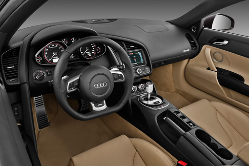 AUT 30 IZ0215 01 © Kimball Stock 2011 Audi R8 Spyder V10 Convertible Brown Interior Detail Studio