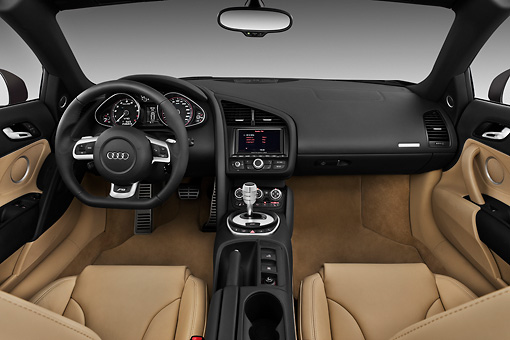 AUT 30 IZ0216 01 © Kimball Stock 2011 Audi R8 Spyder V10 Convertible Brown Interior Detail Studio