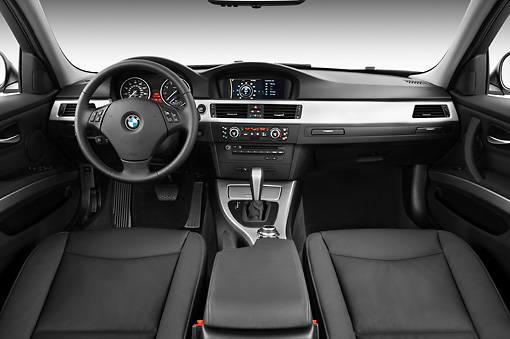 AUT 30 IZ0992 01 © Kimball Stock 2011 BMW 328i Station Wagon White Interior Detail Studio