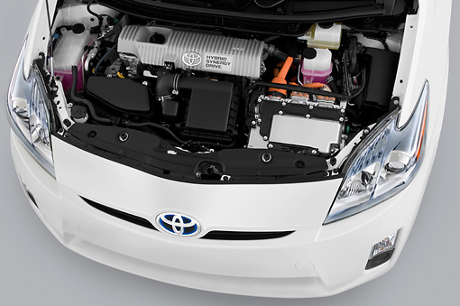 AUT 30 IZ1076 01 © Kimball Stock 2011 Toyota Prius 2 White Engine Detail Studio