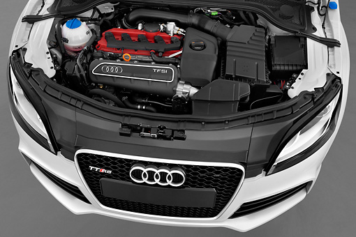 AUT 30 IZ1130 01 © Kimball Stock 2013 Audi TT RS Convertible White Engine Studio
