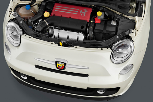 AUT 30 IZ1163 01 © Kimball Stock 2013 Fiat 500 Abarth White Engine Detail Studio