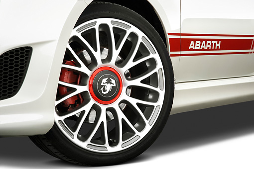 AUT 30 IZ1164 01 © Kimball Stock 2013 Fiat 500 Abarth White Front Wheel Detail Studio
