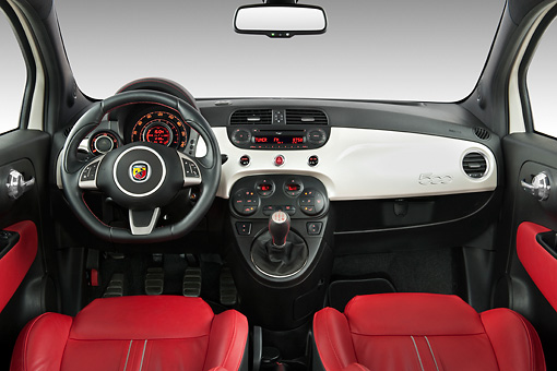 AUT 30 IZ1166 01 © Kimball Stock 2013 Fiat 500 Abarth White Interior Detail Studio