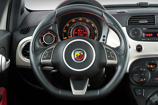 AUT 30 IZ1167 01 © Kimball Stock 2013 Fiat 500 Abarth White Interior Detail Studio