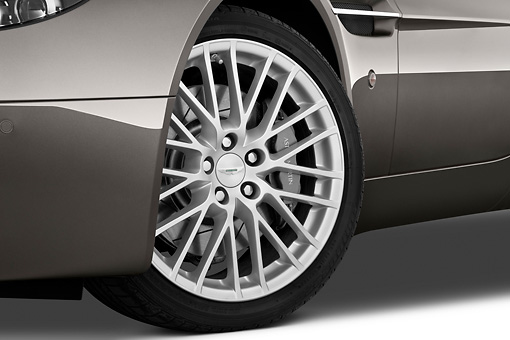 AUT 30 IZ1175 01 © Kimball Stock 2013 Aston Martin Vantage V8 Coupe Gray Front Wheel Detail Studio