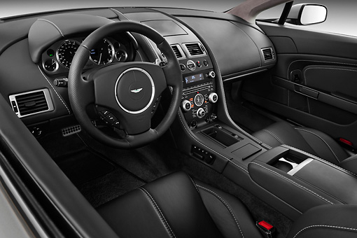 AUT 30 IZ1176 01 © Kimball Stock 2013 Aston Martin Vantage V8 Coupe Gray Interior Detail Studio