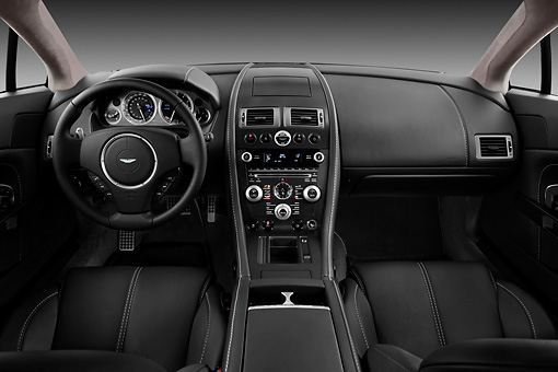 AUT 30 IZ1177 01 © Kimball Stock 2013 Aston Martin Vantage V8 Coupe Gray Interior Detail Studio