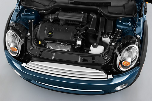 AUT 30 IZ1201 01 © Kimball Stock 2010 Mini Cooper Convertible Blue Engine Detail Studio