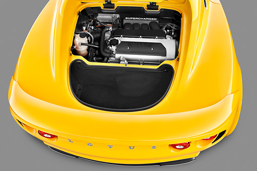 AUT 30 IZ1234 01 © Kimball Stock 2010 Lotus Elise SC Yellow Engine Detail In Studio