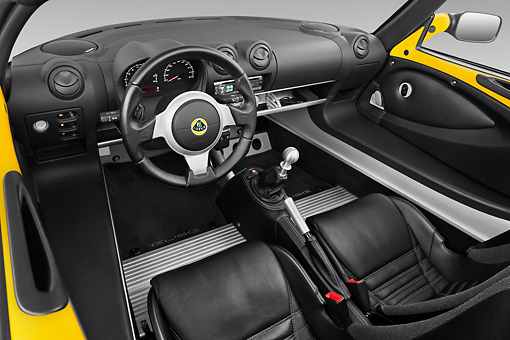 AUT 30 IZ1235 01 © Kimball Stock 2010 Lotus Elise SC Yellow Interior Detail In Studio