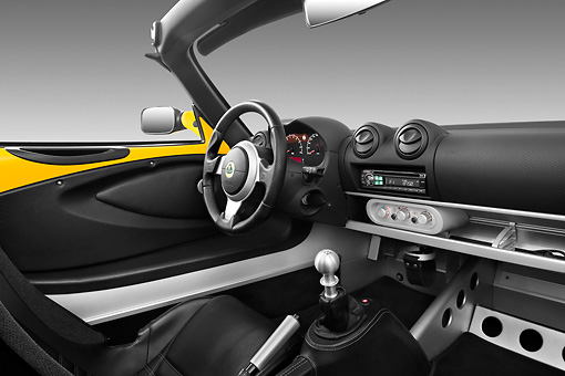 AUT 30 IZ1236 01 © Kimball Stock 2010 Lotus Elise SC Yellow Interior Detail In Studio