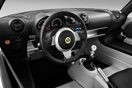 AUT 30 IZ1239 01 © Kimball Stock 2010 Lotus Exige S White Interior Detail View Studio