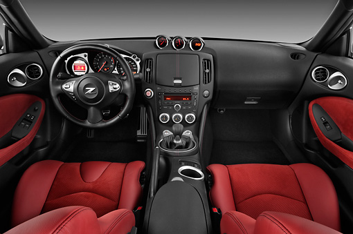 AUT 30 IZ1250 01 © Kimball Stock 2012 Nissan 370Z 40th Anniversary Edition Coupe Graphite Interior Detail Studio