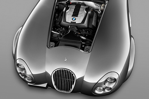 AUT 30 IZ1253 01 © Kimball Stock 2010 Wiesmann MF4 GT Coupe Silver Engine Detail Studio
