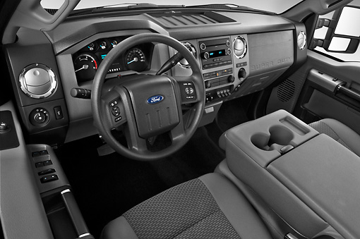 AUT 30 IZ1260 01 © Kimball Stock 2013 Ford F-250 SD Crew Cab 4X4 Pickup Truck Silver Interior Detail In Studio