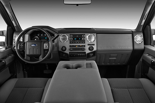 AUT 30 IZ1261 01 © Kimball Stock 2013 Ford F-250 SD Crew Cab 4X4 Pickup Truck Silver Interior Detail In Studio