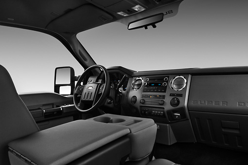 AUT 30 IZ1262 01 © Kimball Stock 2013 Ford F-250 SD Crew Cab 4X4 Pickup Truck Silver Interior Detail In Studio