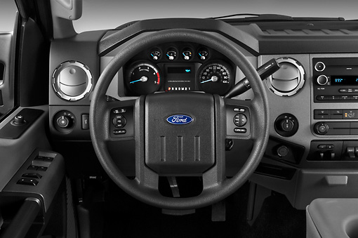 AUT 30 IZ1263 01 © Kimball Stock 2013 Ford F-250 SD Crew Cab 4X4 Pickup Truck Silver Interior Detail In Studio