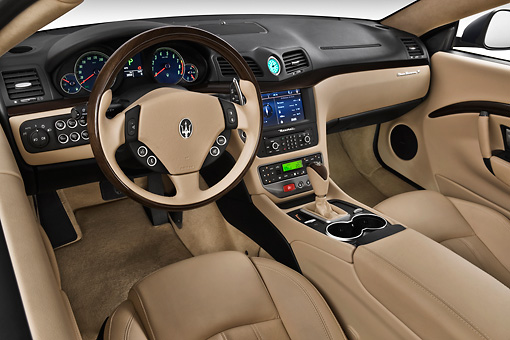 AUT 30 IZ1266 01 © Kimball Stock 2013 Maserati GranTurismo S Automatic Coupe Blue Interior Detail In Studio