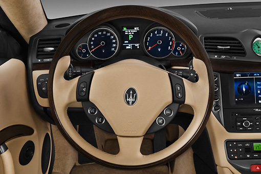 AUT 30 IZ1270 01 © Kimball Stock 2013 Maserati GranTurismo S Automatic Coupe Blue Interior Detail In Studio