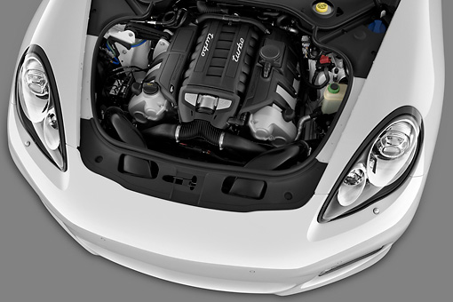 AUT 30 IZ1271 01 © Kimball Stock 2013 Porsche Panamera Turbo White Engine Detail In Studio