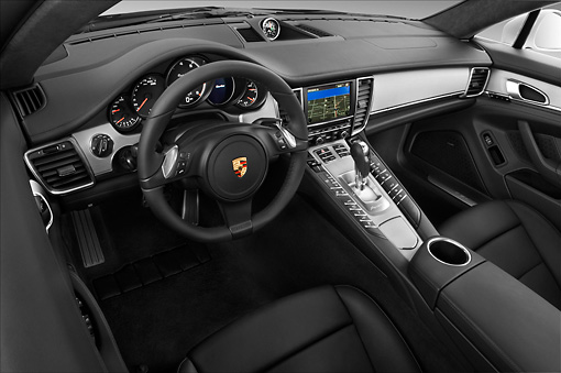 AUT 30 IZ1273 01 © Kimball Stock 2013 Porsche Panamera Turbo White Interior Detail In Studio