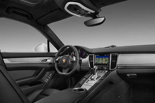 AUT 30 IZ1274 01 © Kimball Stock 2013 Porsche Panamera Turbo White Interior Detail In Studio